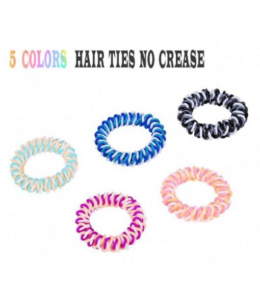 Plastic Hair Ties Spiral Ponytail Holder 5 Piece